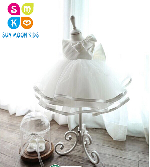 Retail White Lace Girl Summer Dresses Children Party Birthday Dress Princess Baby Girl Wedding Dress Baptism