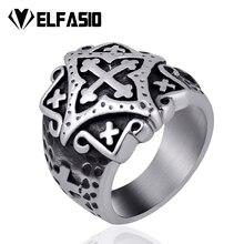 Elfasio мужской волнистый крест 316L нержавеющая сталь кольцо Серебряный тон ювелирные изделия