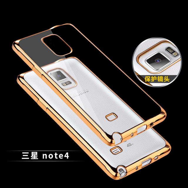 Luxury Ultra Thin Clear Crystal Rubber Plating Electroplating TPU Soft Mobile Phone Case For Samsung Galaxy note4 SM-N9100