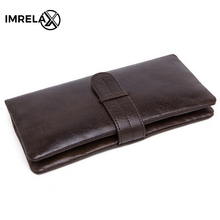 IMRELAX Long font b Wallets b font Genuine Leather font b Wallet b font Leather font