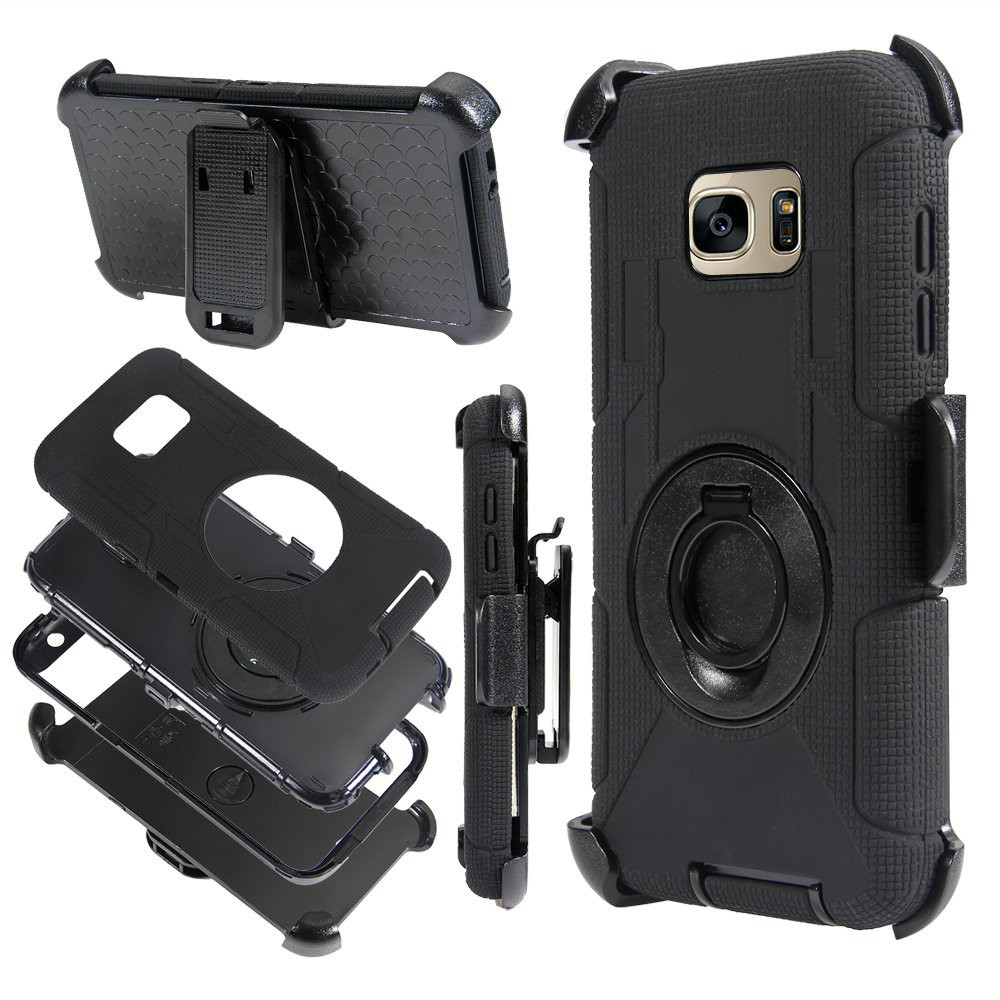 Lancase For Samsung Galaxy S7 Edge Case Armor Cover Belt