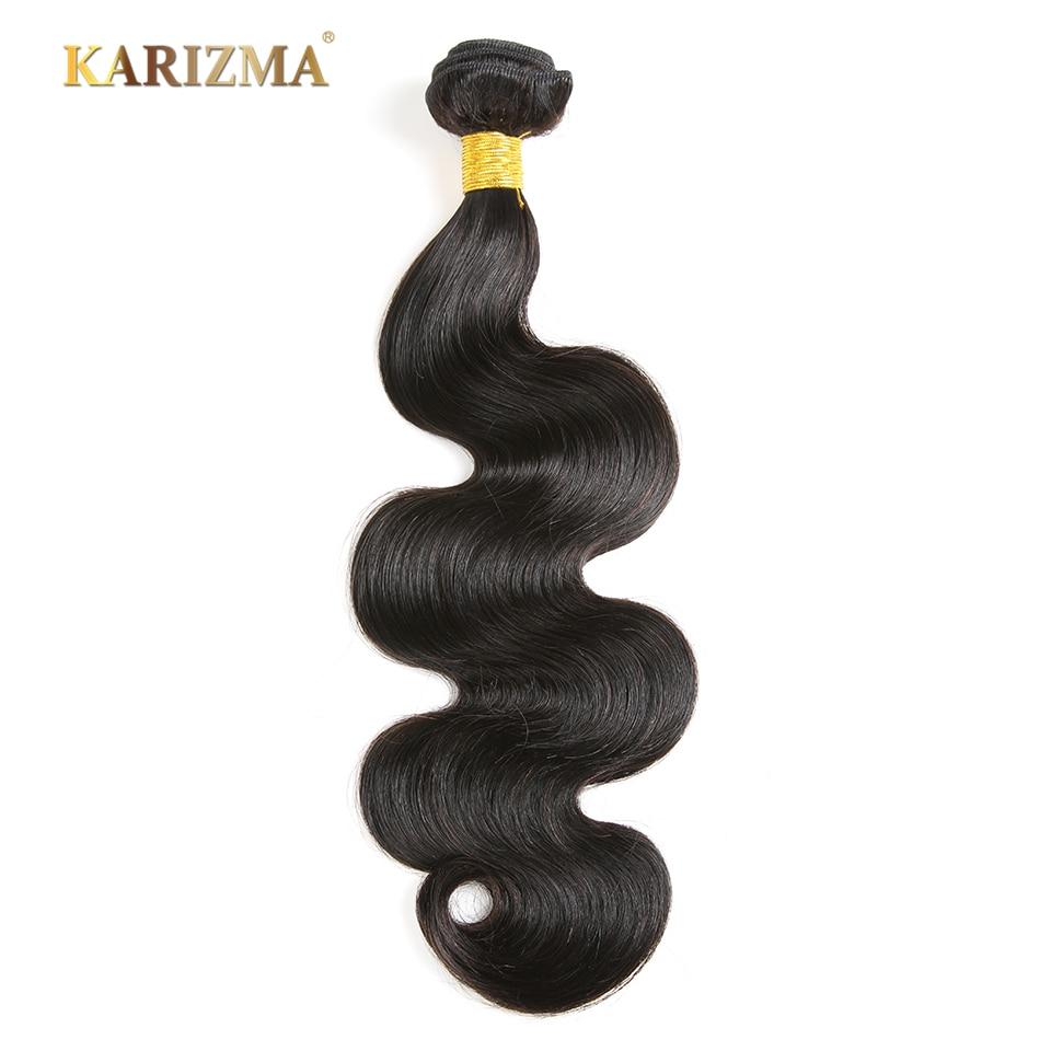 Karizma Hair Peruvian Body Wave Bundles Natural Black 100% Human Hair - Menneskehår (sort)