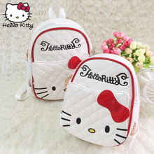 Hello Kitty Backpack Cartoon Children School Bag Kids  Fashion Women Single Shoulder PU Leather Girls Plush