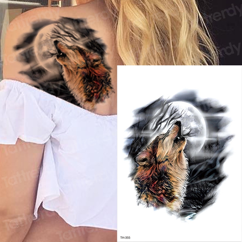 Wolf Temporary Tattoos Moon And Wolf Tattoo Arm Sleeves For Men Women Body Art Black Big Tattoo Back Chest Tatoo Waterproof Girl