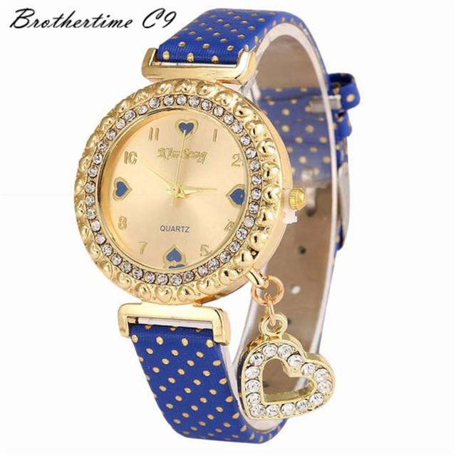 Relogio Feminino Dress Watch Women Reloj Mujer Heart Watches Leather Rhinestone Crystal Quartz Wristwatch Relojes Mujer Montre