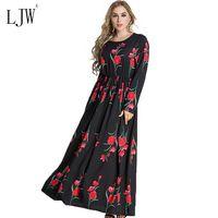 Elegant Print Rose Flowers Woman Dress 2017 New Fashion Autumn Long Sleeve Muslim Dubai Robe Dress