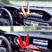 จี้รถCowhide Origami Cranesกระดาษแขวนสวดมนต์BlessingสันติภาพAutoภายในกระจกมองหลังตกแต่งเครื่องประดับ