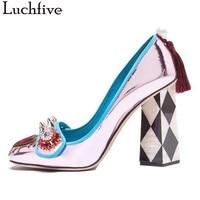 High Heels pumps women genuine leather Rivets Studded Wedding Dress Shoes ladies rhinestone love heart Fringe zapatos mujer
