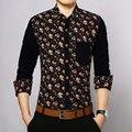 Toturn 2017 Slim Fit Рубашка Мужчин бренд Рубашки С Длинным Рукавом Мода Весна цветок Рубашки Хлопок Социальный Camisa Masculina CS287