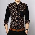 Toturn 2017 Slim Fit Camisa Dos Homens Camisa de marca Camisas de Algodão de Manga Longa Primavera Vestido de flores de Moda Camisa Masculina Social CS287