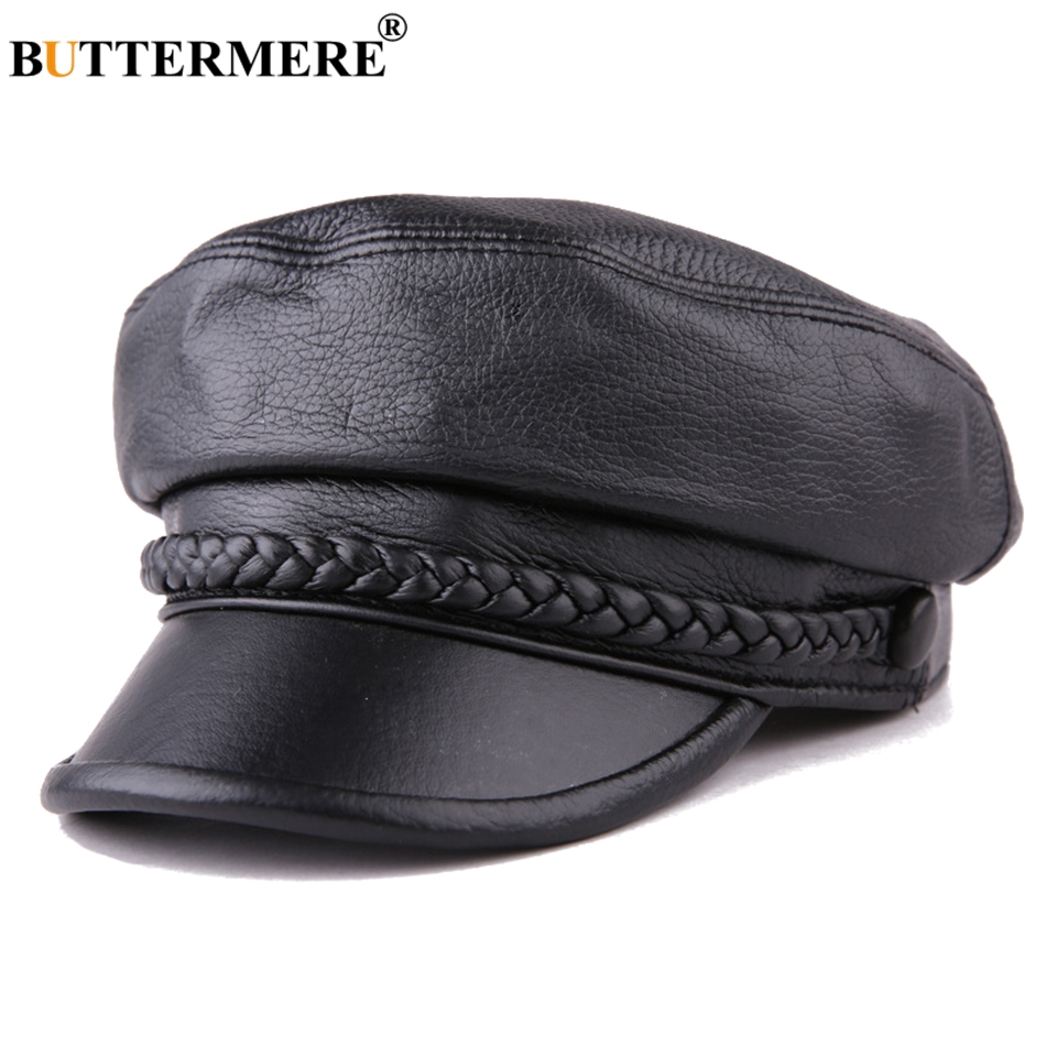 Buttermere Women Newsboy Hats Black Leather Flat Caps Ladies Casual Genuine Sheepskin Leather Winter Classic Painter Caps Sailor