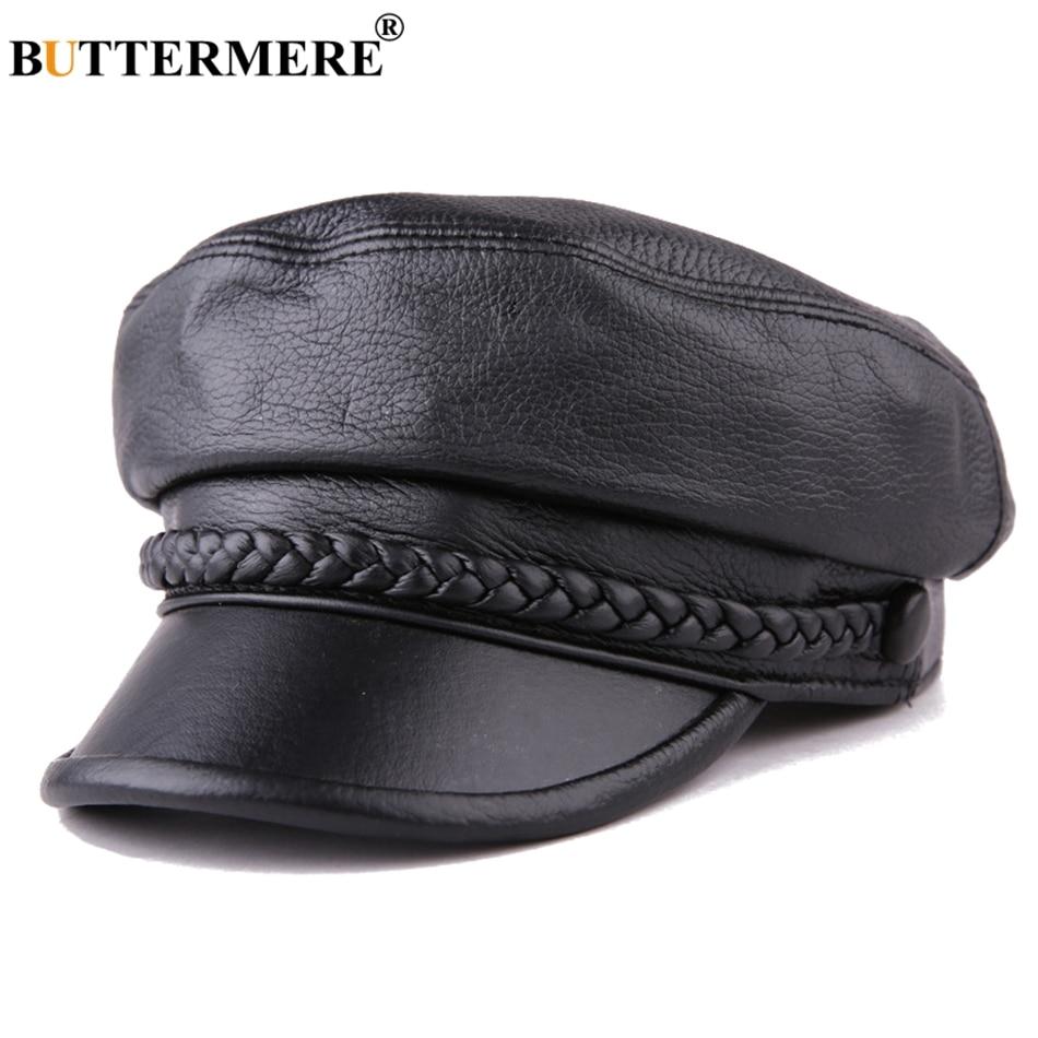 Buttermere Women Newsboy Hats Black Leather Flat Caps Ladies Casual Genuine Sheepskin Leather Winter Classic Painter Caps Sailor