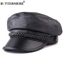 BUTTERMERE Women Newsboy Hats Black Leather Flat Caps Ladies Casual Genuine Sheepskin Winter Classic Painter Sailor
