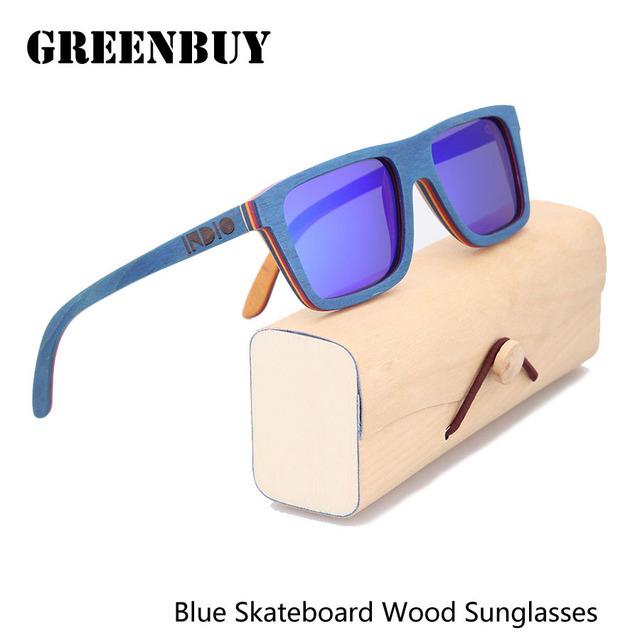 Azul espelho óculos de sol dos homens óculos de sol de madeira do skate marca óculos masculino espelho polaroid shades oculos designer de madeira gb003