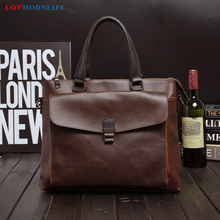 Mens Business Crazy Horse Leather Laptop Shoulder Bag Man Business Computer Bag For Men Handbag Briefcase Travel Messenger Bags цена в Москве и Питере