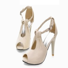 Korean Style Women Summer Thin High Heel Open The Toe Ankle Wrap Cut Out Fashion Casual Sandals Shoes Plus Size 30-43 SXQ0611