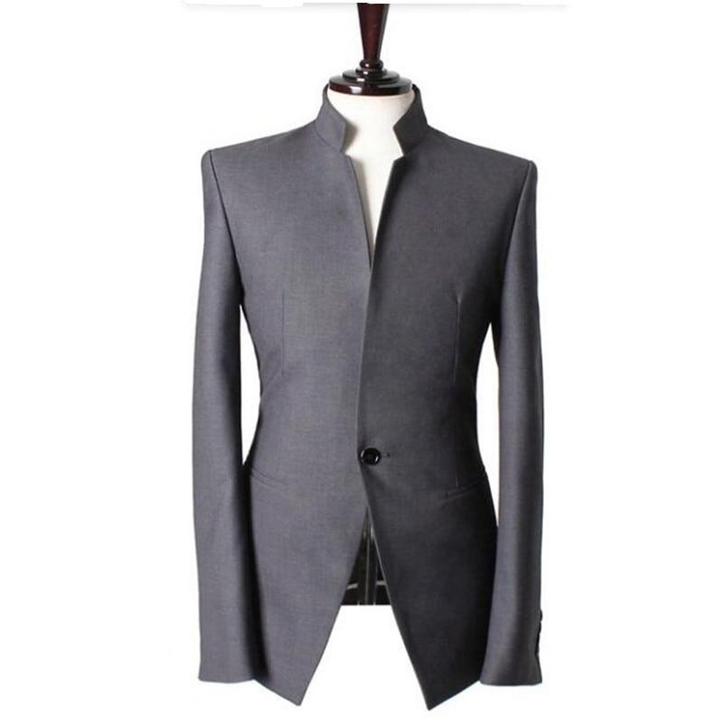 Mandarin collar Gentlemen men suits jacket Handmade Wedding groom tuxedos vest Men Custom Made Men Suit Jacket