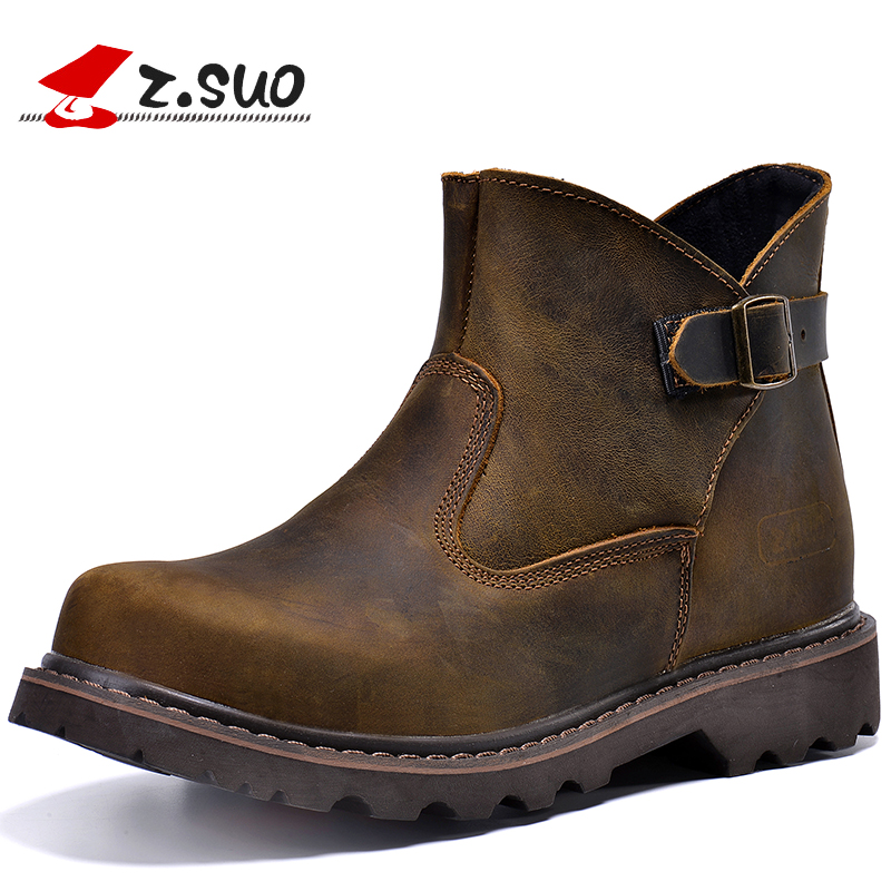 Z SUO 100 Genuine Leather Upper Rubber Outsole Men s Martin font b Boots b font