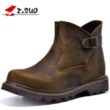 Z. suo 100% Пояса из натуральной кожи верхняя Резиновая подошва Для мужчин's ботинки Martin Украшенные пряжкой модные Дизайн мужской ковбойские ботинки ZS327