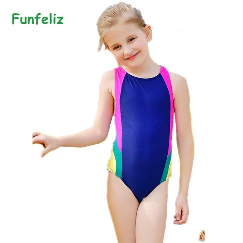 f4fd071259 Funfeliz Kids girls bathing suit Patchwork One piece swimwear for girls  Children swimsuit lovely girl sport swim suit 5-12 Years