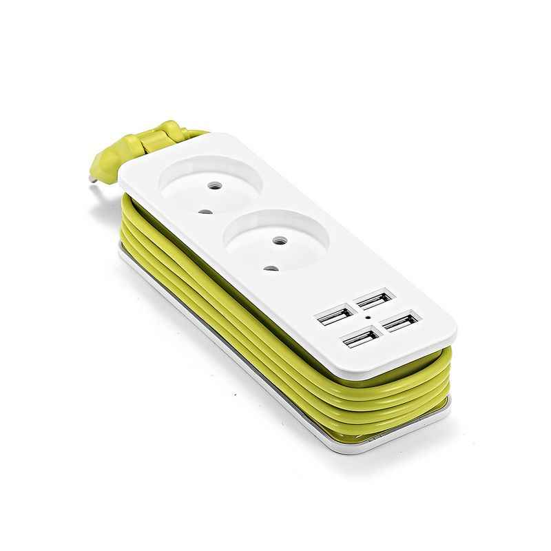Ue listwy zasilającej przenośna gniazda rozszerzeń 1.5m kabel zabezpieczenie przeciwprzepięciowe wielu gniazdo wtykowe z 2 AC 4 Port USB dla inteligentnego telefonu