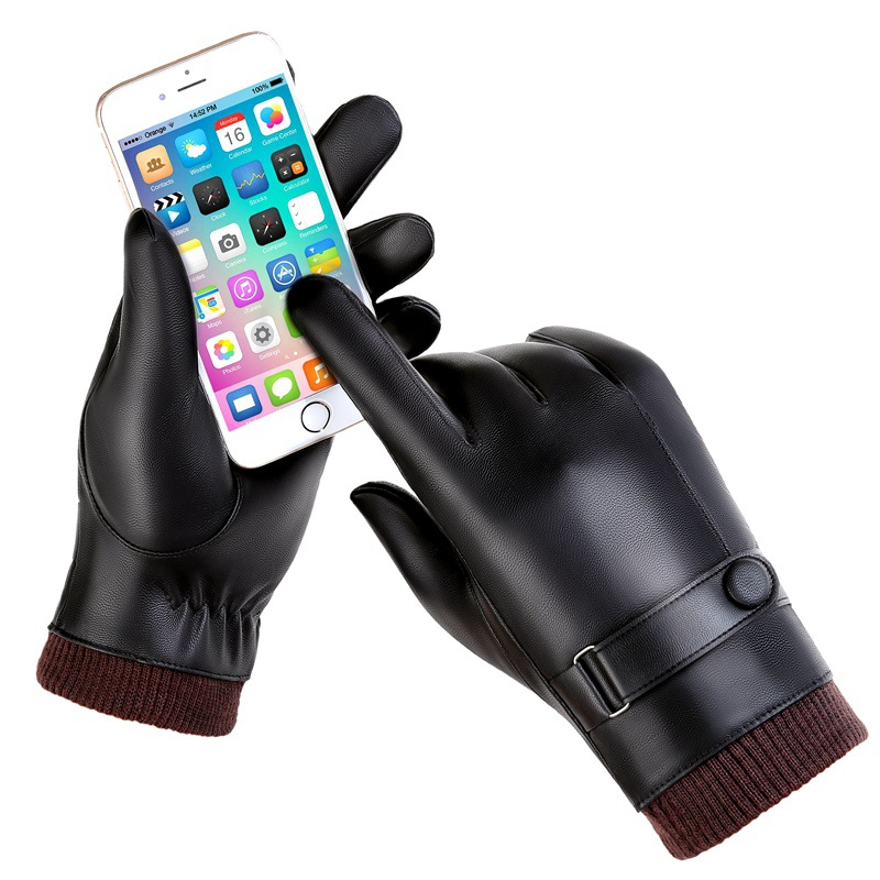 Men Sheepskin Touch Screen Gloves PU Leather Glove For Men Winter Outdoor Warm Fur Thickening Thermal Patchwork Rekawiczki