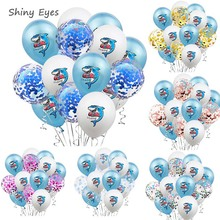 Shiny Eyes 15Pcs Boxing Shark Baby Birthday Party Balloons  Shark Themed  Decoration