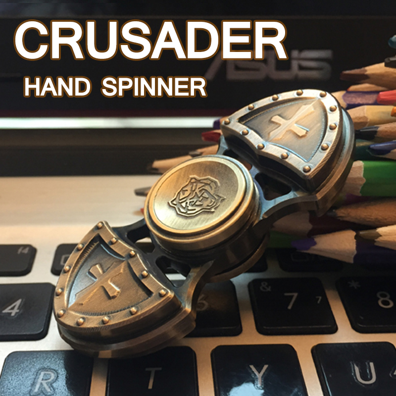 Retro Crusader Metal Hand Spinner Tri-Spinner EDC Fidget Toy For Autism and ADHD Anti Stress Finger Toys Profession Gyro Tops fidget hand spinner brass metal edc finger spinner anti stress hand spinner for autism adhd toys gift spinning top
