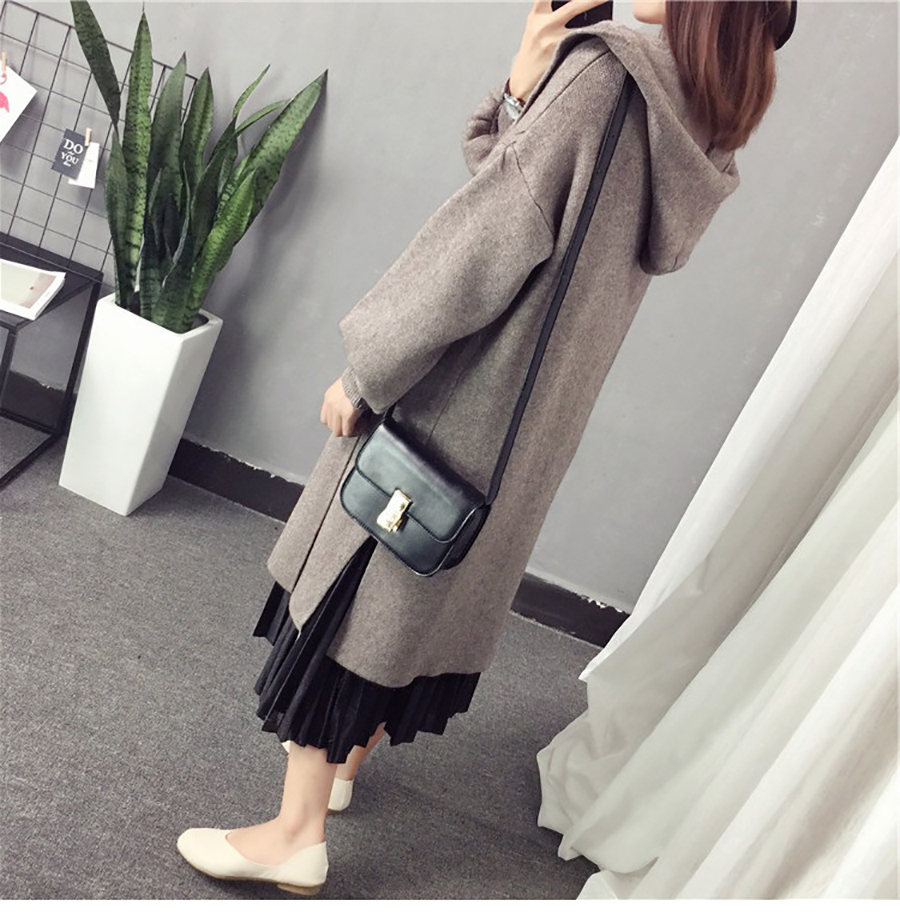 Autumn Winter Women Long Cardigans Hooded Sweaters Casual Knitted Outwear Puff Sleeves for Fashion Girls Female Warm Clothing (5)