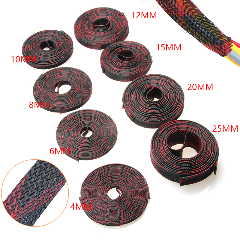 5M 2/4/6/8/10/12/15/20/25mm Insulation Braided Sleeve Tight PET Expandable Cable Sleeves Wire Gland Cables 8 Sizes