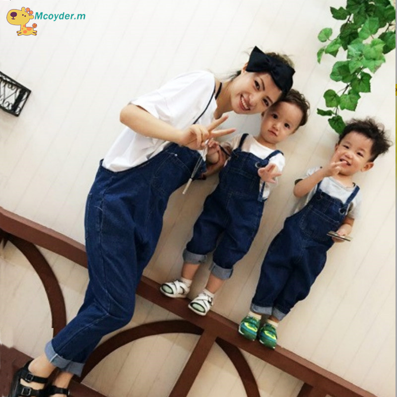 Mother and Daughter Jeans Family Matching Outfits Jeans Mom Son Long Overall Women Girls Kids Jeans Pants family clothing