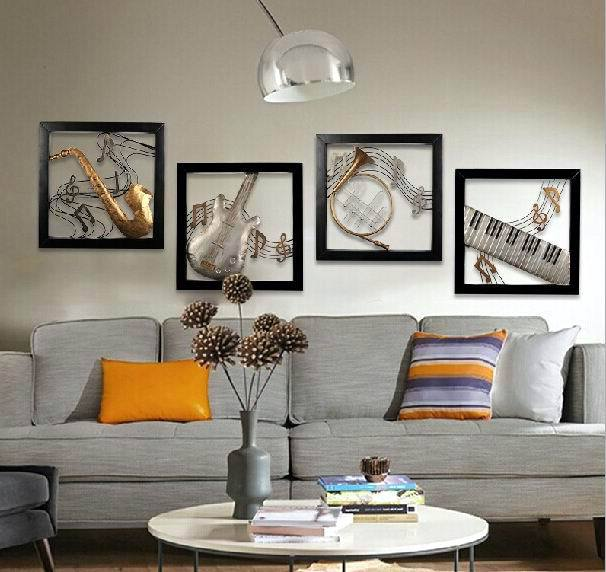 Modern Home Decoration Metal Wall Art Musical Instruments Hanging Pictures 4pcs Set 51