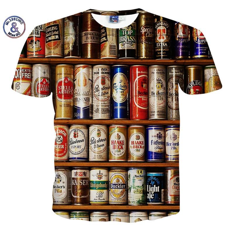 2017 Mr.1991INC&Miss.GO Summer The New Men/Women Harajuku Style 3D Beer Wolf Eye Ninja Printing T-Shirts Hip hop Tops/Tees S-XXL