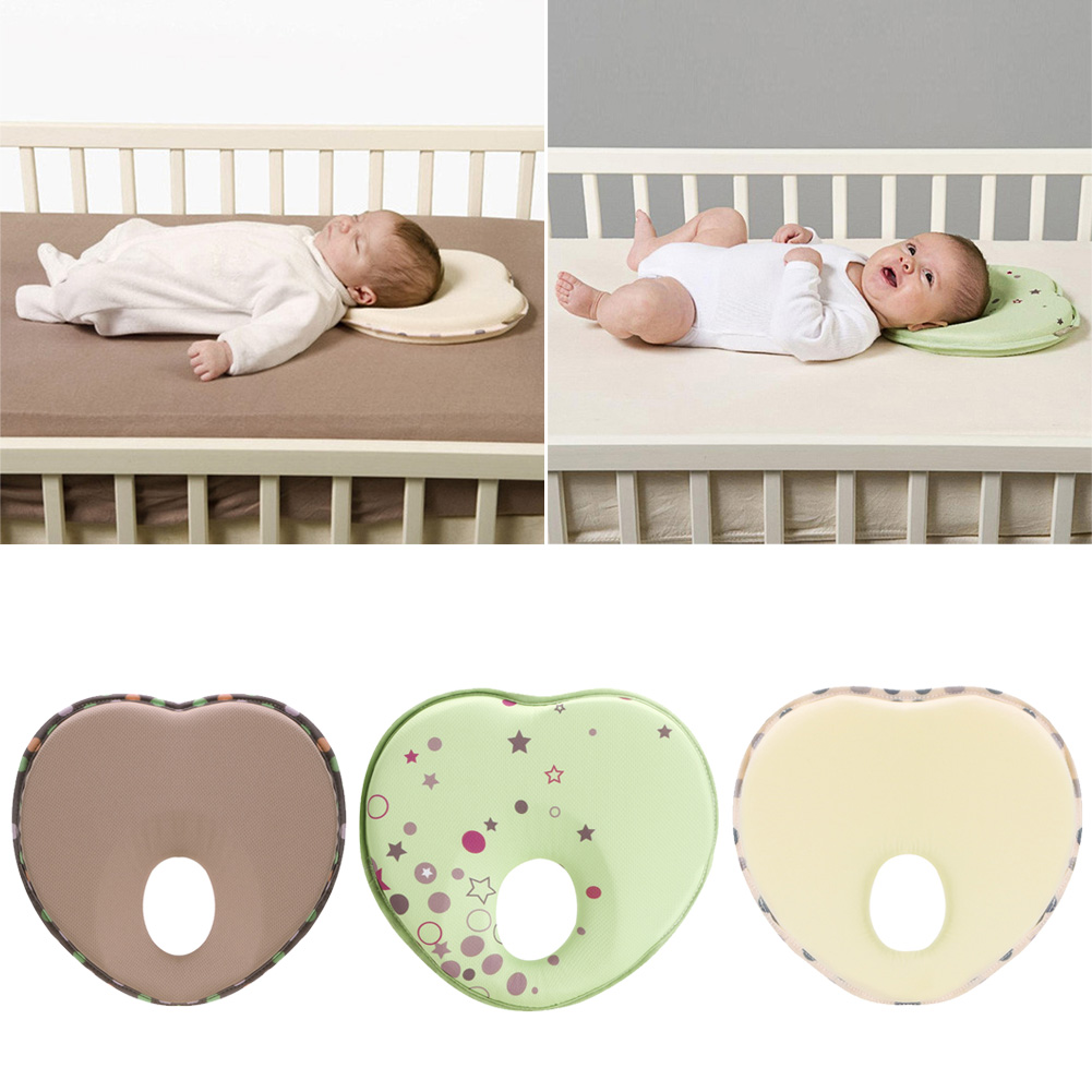 Heart Shape Pillow for Newborn Baby Head Protection Anti Roll Cushion Flat Cotton Head Pillow Children's Cushion Linens