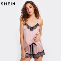 SHEIN Two Piece Set Pyjamas Women Sexy Ladies Sleepwear Pink Eyelash Lace Applique Cami Top And