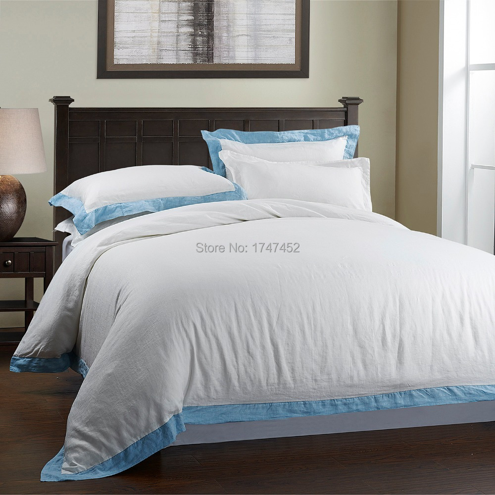 100% Pure Linen STONE Mytí BEDDING SET s modrým okrajem