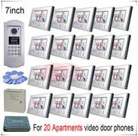 Cho 20 căn hộ hình cửa điện thoại cửa chuông Intercom Hệ thống hỗ trợ thẻ cảm ứng/mật khẩu chức năng mở khóa