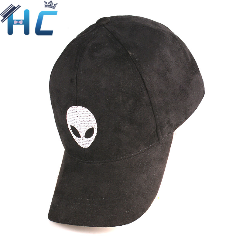 Prix pour 2016 Gorras Snapback Daim Casquette de baseball Étrangers Outstar Soucoupe Espace E.T UFO Fans Chapeau pour Hommes Femmes Solide Hip Hop Cap Noir