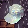 Новые Персонализированные Корейской версии Хип-Хоп Шапки серебро лазерной Плоским Полями Бейсболка Панк Snapback Шляпы Пу Hat