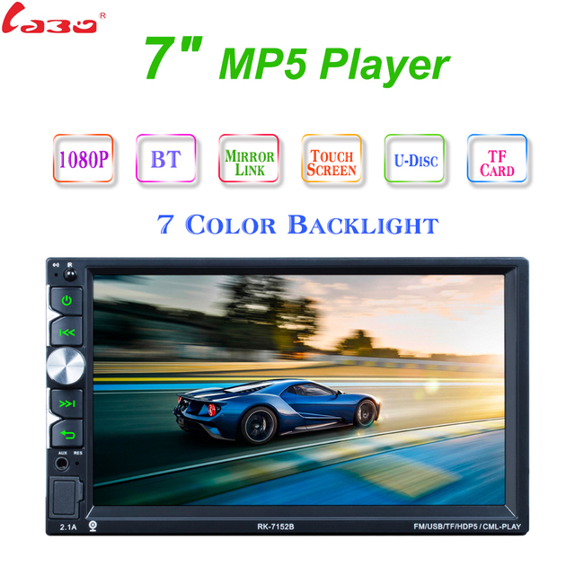 """7152B Autoradio 2 Din Car Radio 7"""" HD Touch Screen Audio Stereo Bluetooth Video MP5 Multimedia Player Support Rear View Camera"""