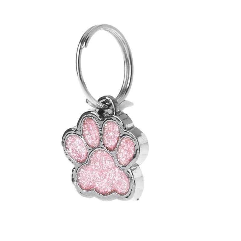Pet Yaka Etiketi parlak sim Pençe Şekli Pet Köpek Kedi KIMLIK Etiketi Anahtarlık Yüzük