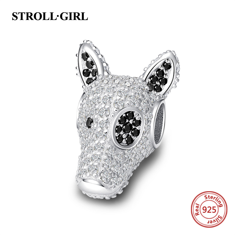 New arrival 925 sterling silver Dog Head Charms beads with white CZ fit Pandora bracelets fashion