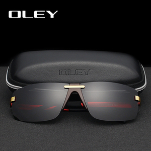 Image 2 - OLEY Fashion Mens Frameless Polarized Sunglasses Classic Pilot Goggles  UV400 Gafas De Sol  Y4909 Support custom LOGO