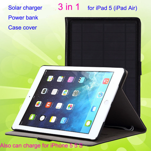 super popular 7c233 920a6 US $88.38 |8800mAh multi function solar power bank for iPad Air solar  battery external backup battery for iPad Air 5 case cover 3 in 1-in Tablet  ...