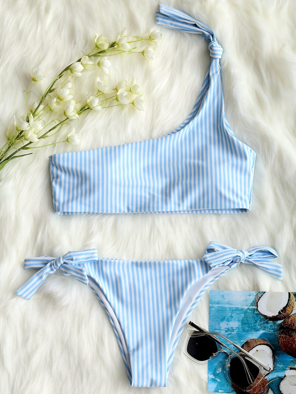Knotted One Shoulder Bikini Set