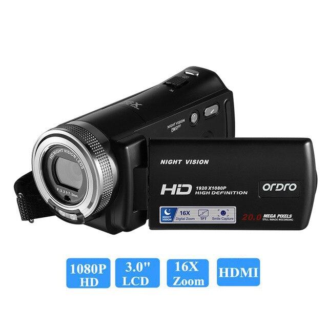 Ordro HDV-V12 1080 P Full HD caméra vidéo numérique caméscope 16x Zoom numérique Rotation numérique écran LCD Max. 24MP vision nocturne