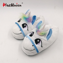 unicorn slippers indoor winter animal embroidered plush licorne slipper for women furry fur unisex shoes house home with faux(China)