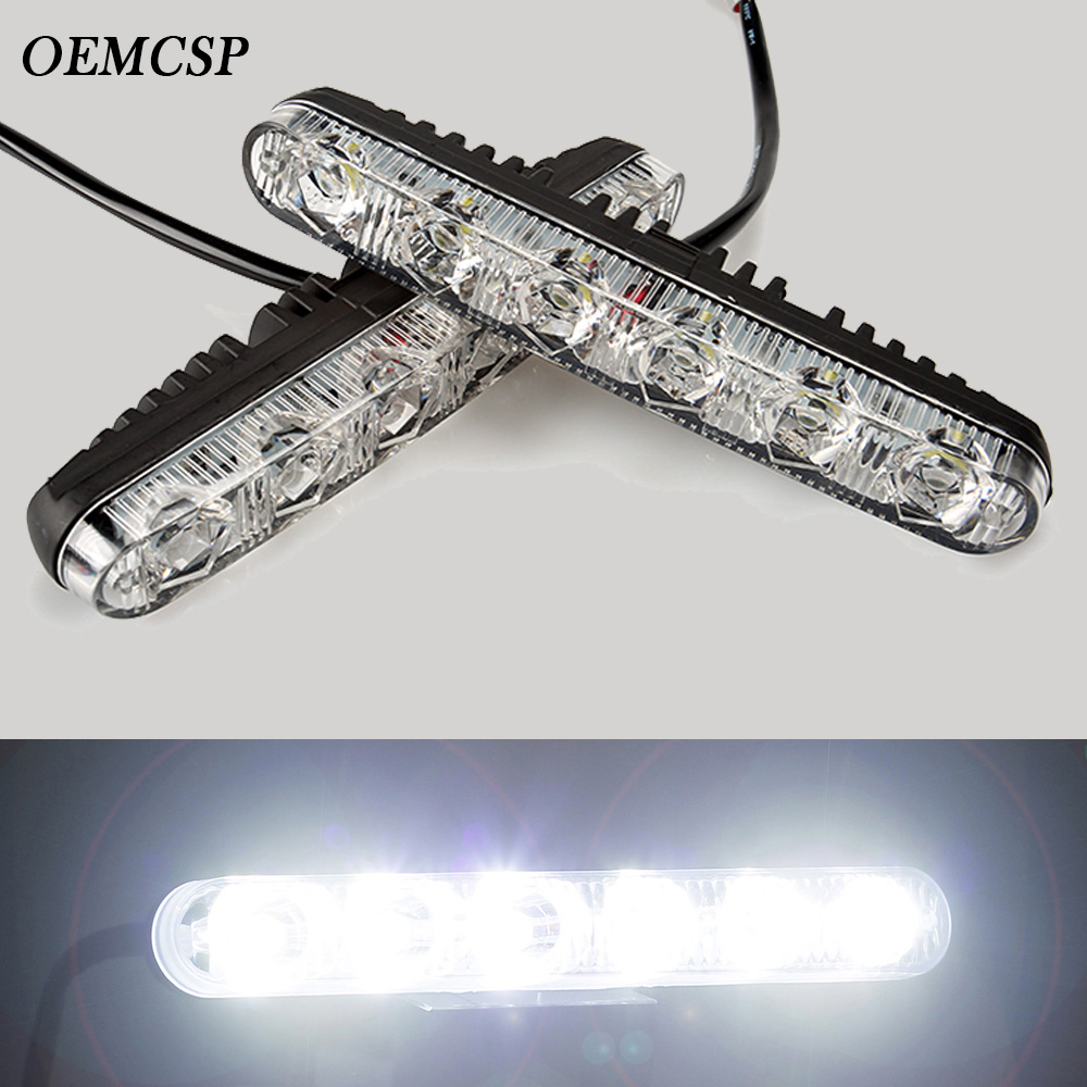 Car Styling 2 Pcs Ultra Bright LED Daytime Running lights 12v 6 LED Daytime Running Light Waterproof Universal DRL Kit Day Light brand new universal 40 w 6 inch 12 v led car work light daytime running lights combo light off road 4 x 4 truck light