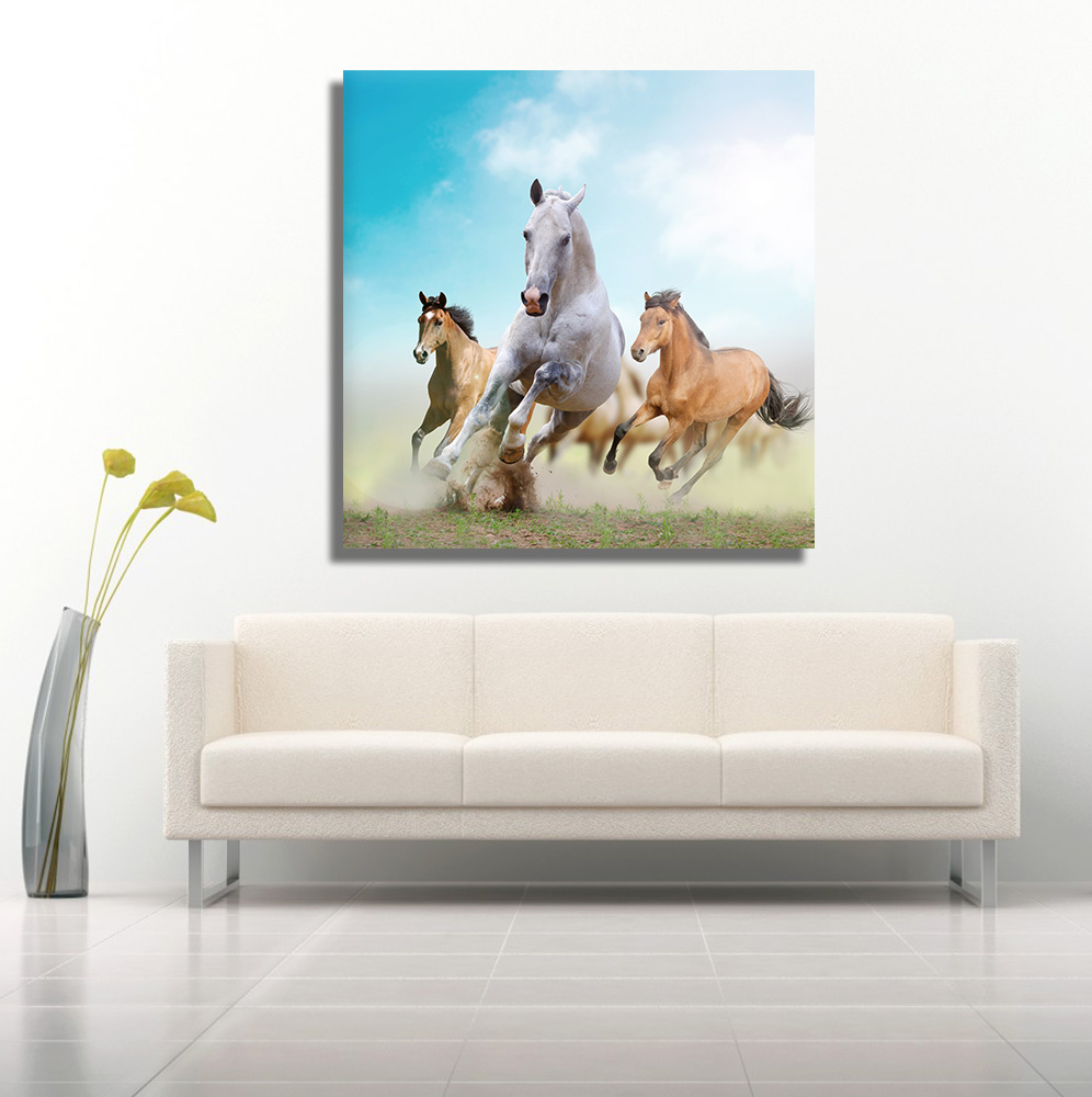 Running Horses Canvas Wall Hanging Modern Animal Art Stickers For Home Decor In Painting Calligraphy From Garden On