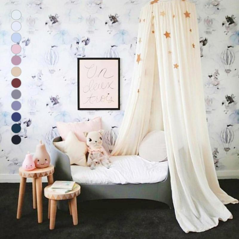 Baby bed curtain Crib Netting Canopy Mosquito Net For kids room Decoration Princess Bed Tent Kids Girls Round Mosquito Net R4 vilead 7m desert camouflage net camo net for beach shade canopy tarp camping canopy tent party decoration bar decoration